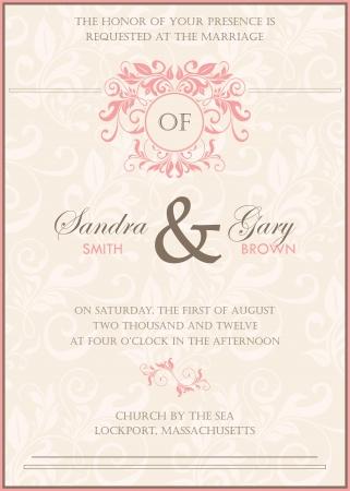 Beautiful Vintage Floral Wedding Invitation Vector Illustration ...