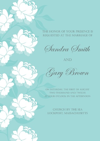Floral wedding invitation or announcement card Stock Vector - 19704192