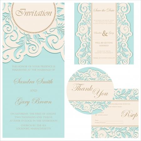 結婚式の招待状結婚式の招待状、礼状、日付カード、RSVP カード保存を設定  イラスト・ベクター素材