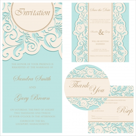 Wedding invitation set  wedding invitation, thank you card, save the date card, RSVP card  Illustration