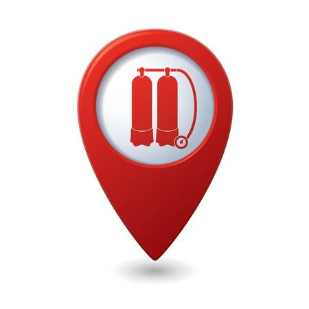 sensores: Mapa puntero con escafandra icono Vectores