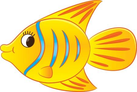 golden fish: Cartoon exotic fish  Illustration