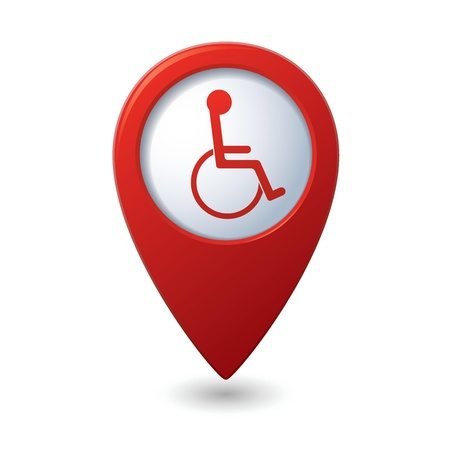 safety pin: Map pointer with handicap icon