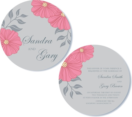 Round, double-sided wedding invitation Stock Vector - 19984921