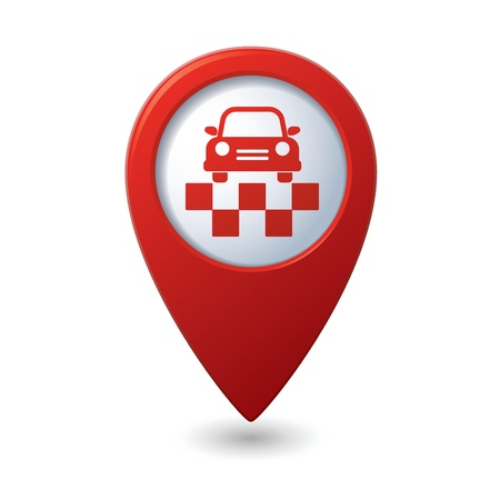 Map pointer with taxi symbol Vector