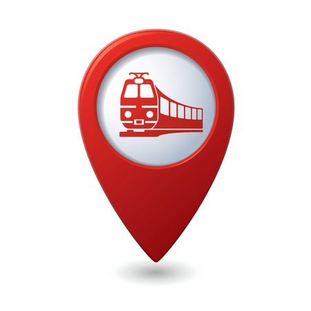 tour guide: Map pointer with train symbol Illustration