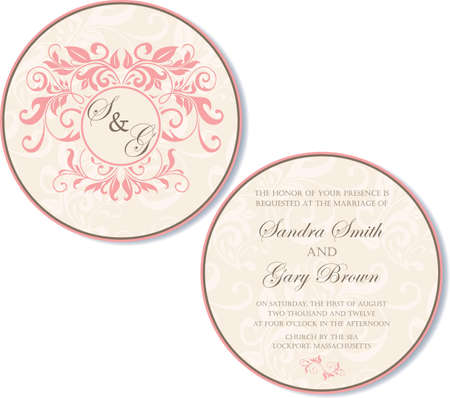 Round, double-sided wedding invitation Stock Vector - 19984916