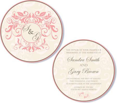 side border: Round, double-sided wedding invitation