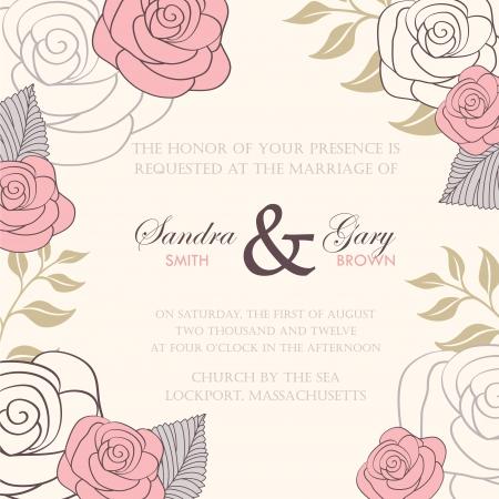 抽象的な背景が花の結婚式の招待状  イラスト・ベクター素材