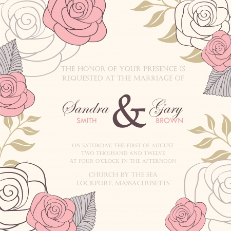 Wedding invitation with abstract floral background Imagens - 19984924