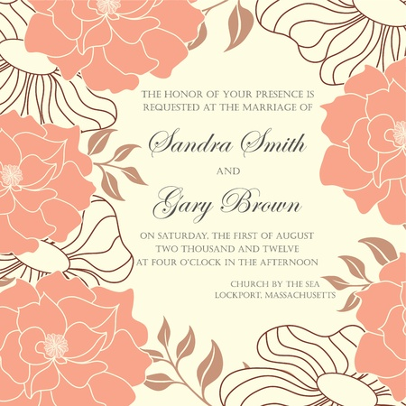 Wedding invitation with abstract floral background Stock Vector - 19984919