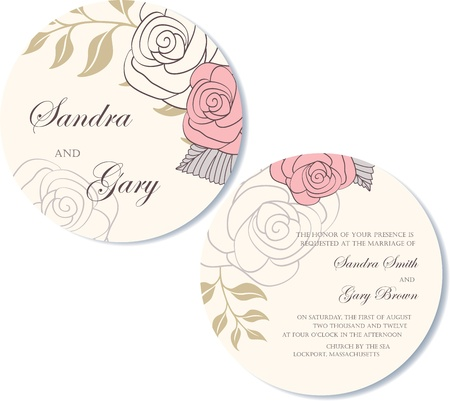 Round, double-sided wedding invitation Stock Vector - 19984923