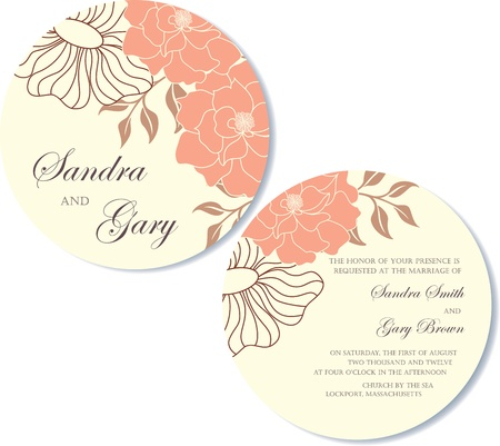 Round, double-sided wedding invitation Stock Vector - 19984922