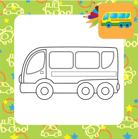 Bus toy  Coloring page Stock Vector - 20173807