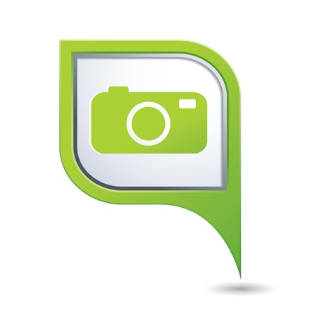 Green map pointer with camera icon Vector