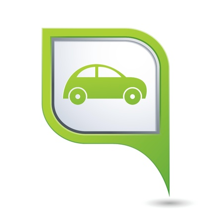 Green map pointer with car icon Stock Vector - 20173777