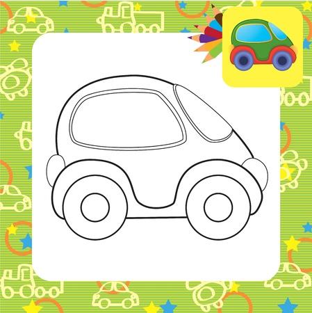 carritos de juguete: Dibujo para colorear coche de juguete Vector Vectores