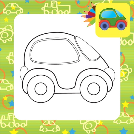 Vector toy car  Coloring page Stock Vector - 20173809
