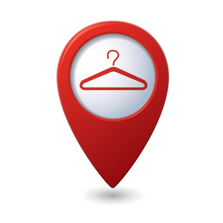 Map pointer with hanger icon Vector