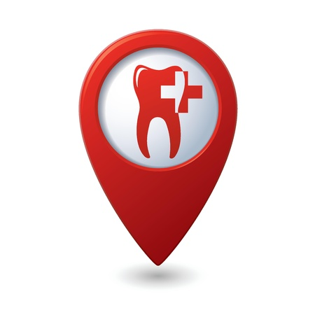 caries dental: Icono de la cl�nica dental en el mapa rojo puntero Vectores