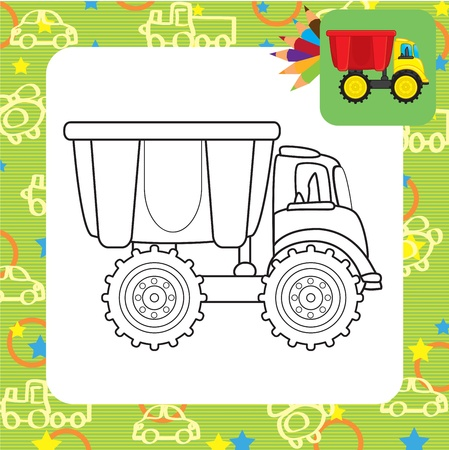 rubbish dump: Dump truck toy Coloring page Illustration