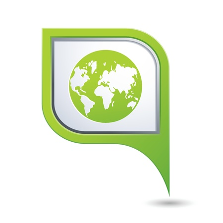 pointer emblem: Green map pointer with earth globe icon Illustration