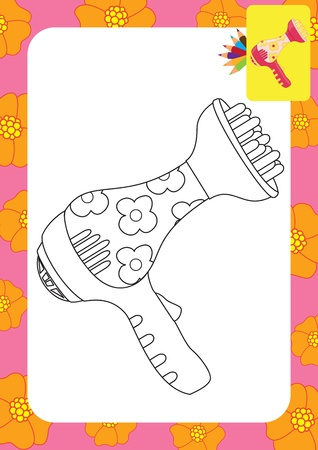 Toy hair dryer  Coloring page Vector