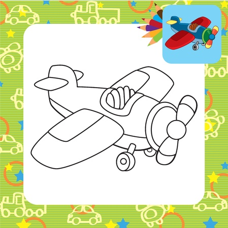 Toy plane  Coloring page Vector