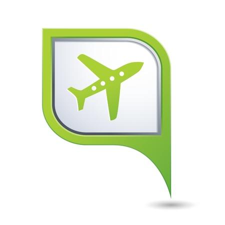 飛行機アイコンとグリーン マップ ポインター