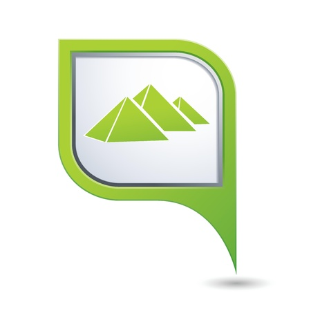 Green map pointer with pyramids icon Vector