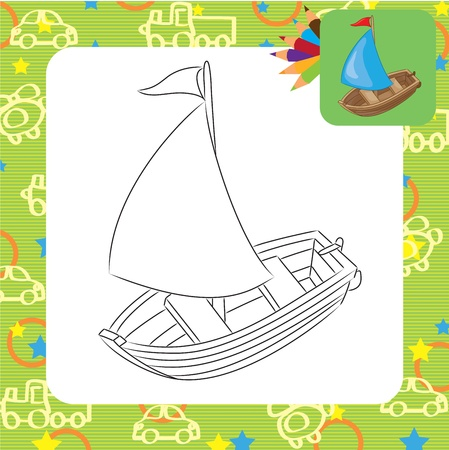Sailboat  Coloring page Stock Vector - 20173811