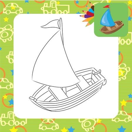 Sailboat  Coloring page Stock Vector - 20173811