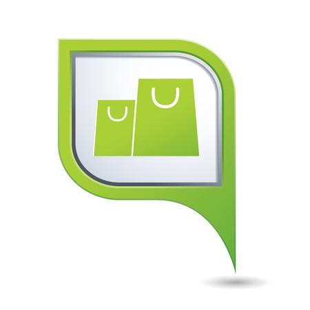 Groene kaart wijzer met boodschappentassen icoon Stock Illustratie