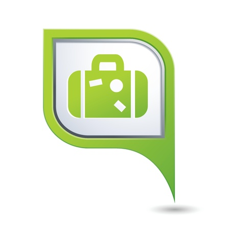 Green map pointer with suitcase icon Vectores