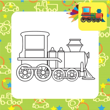 motor de carro: Dibujo para colorear Tren de juguete Vectores