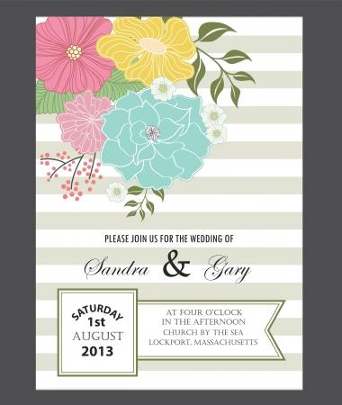美しい花の結婚式招待状ベクトル イラスト