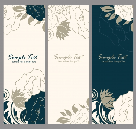retro design: Floral banner illustration