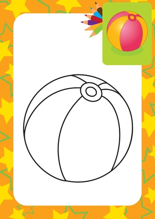 beach ball: Coloring page  Toy ball  illustration