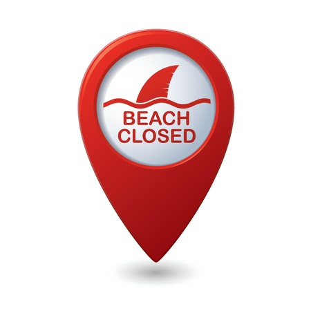 beach closed: Beach Closed, shark sighting sign on map pointer, illustration Illustration