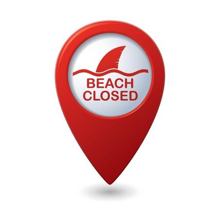 sighting: Beach Closed, shark sighting sign on map pointer, illustration Illustration