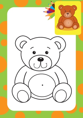Coloring page  Bear toy illustration Vector