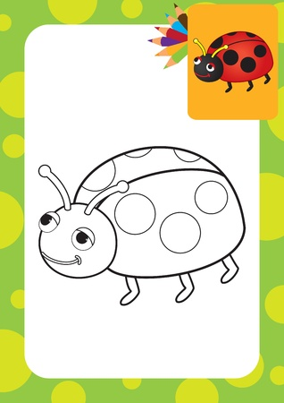 Ladybug toy  Coloring page illustration Vector