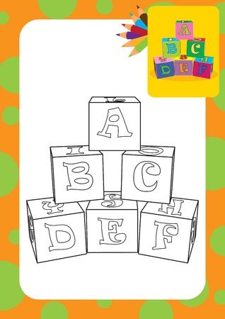 abc blocks: Coloring page  Letter cubes toys illustration