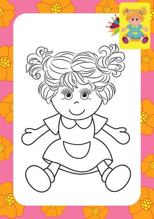 Doll toy  Coloring page Vector