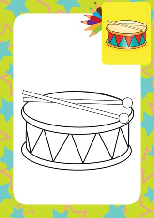 Coloring page  Drum and drumsticks  illustration Vector