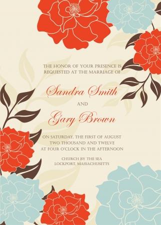 inbjudan: Blom-bröllopinbjudan mall illustration Illustration