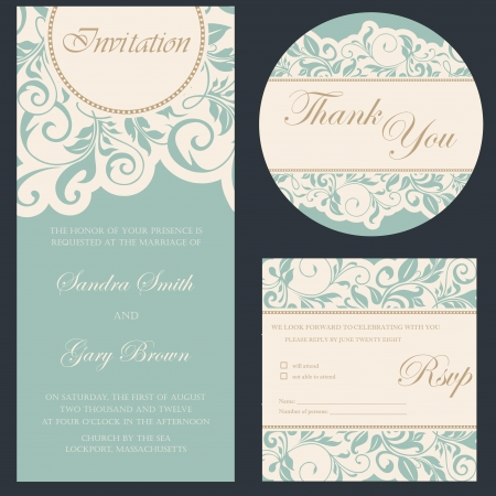 Set of wedding invitation cards Ilustração