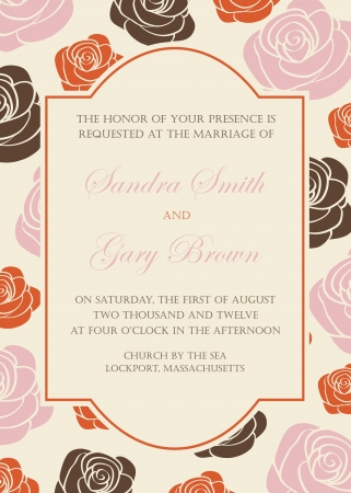 Beautiful floral wedding invitation with roses illustration Stock Vector - 20358174