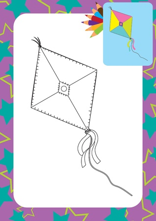 Cartoon kite toy  Coloring page Stock Vector - 20358154