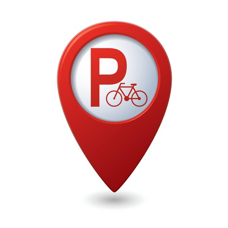 safety pin: Parking for bicycle icon on map pointer, illustration Illustration